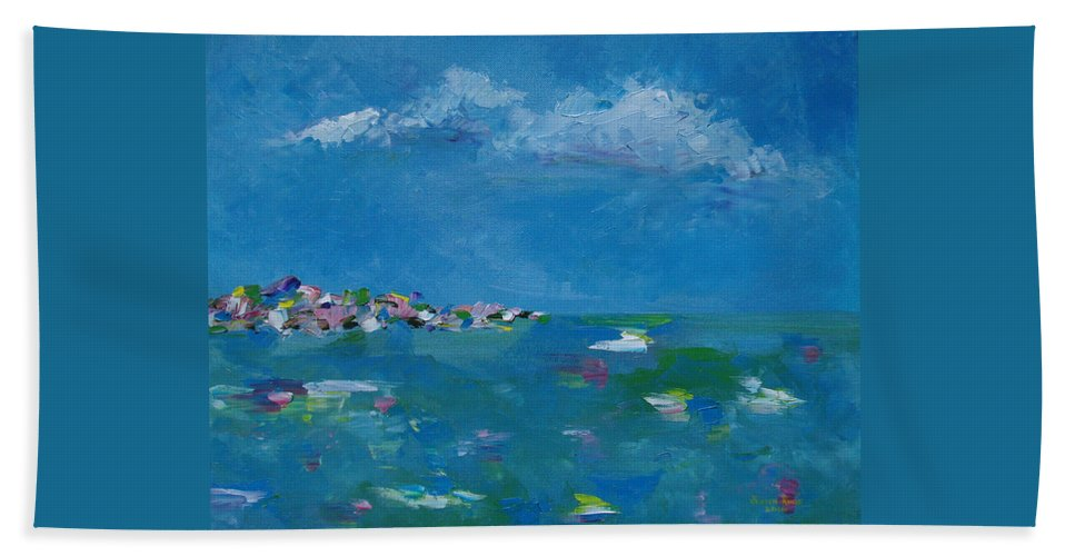 Abstract Bath Sheet featuring the painting Ocean Delight by Judith Rhue