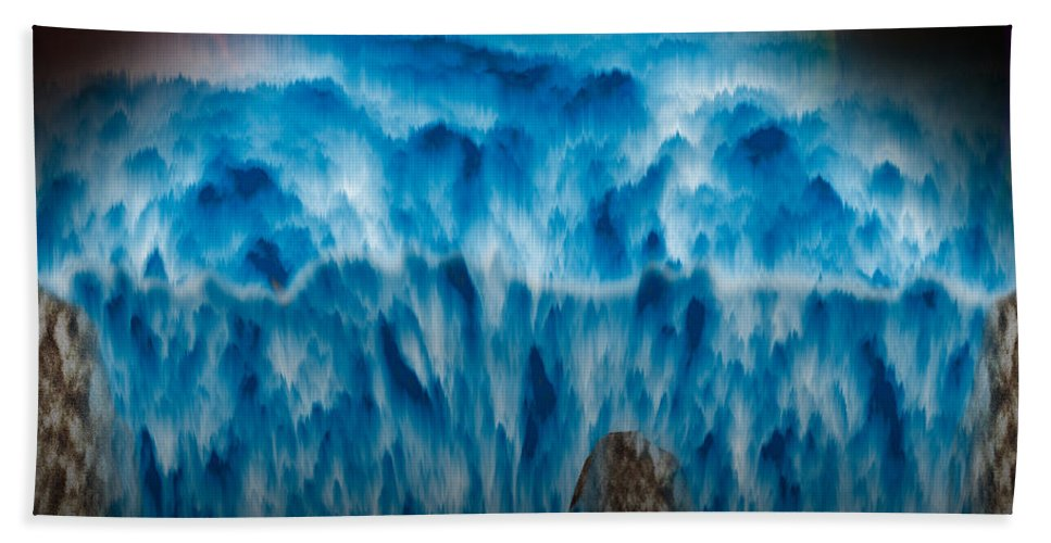 Ocean Bath Sheet featuring the painting Ocean Falling Into Abyss by Christopher Gaston