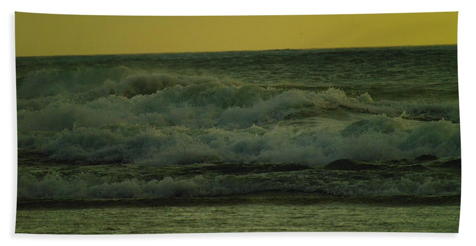 Waves Hand Towel featuring the photograph Ocean Waves Coming In Near Sunset by Jeff Swan