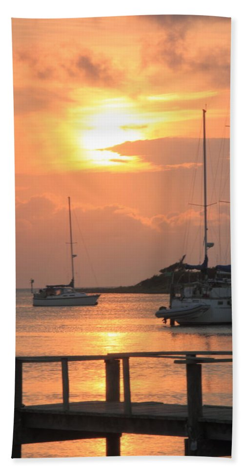 Sunset Bath Towel featuring the photograph Ocracoke Island Harbor Sunset by Roupen Baker