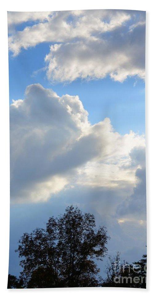 October's Cloud Illumination 2012 Hand Towel featuring the photograph October's Cloud Illumination 2012 by Maria Urso