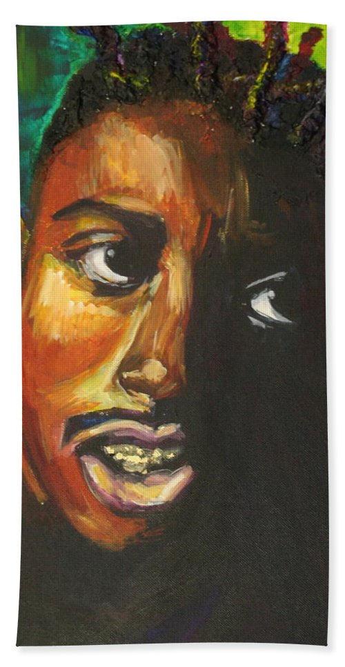 Ol' Dirty Bastard Hand Towel featuring the painting ODB by Kate Fortin