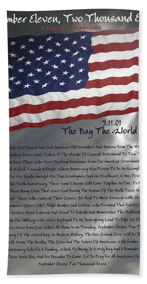 9/11 Hand Towel featuring the digital art Ode For September Eleven Anniversary by DigiArt Diaries by Vicky B Fuller