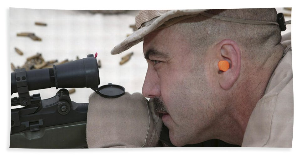 Ammo Bath Sheet featuring the photograph Officer Sights In On The Target by Stocktrek Images
