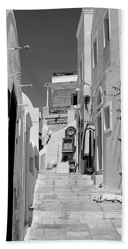 Oia Bath Sheet featuring the photograph Oia Staircase Bw by Jenny Hudson