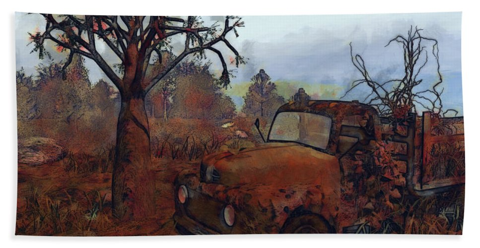 3d Bath Sheet featuring the mixed media Old And Forgotten by Jutta Maria Pusl
