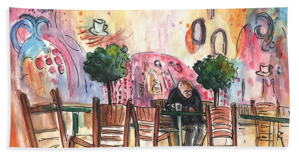 Travel Sketch Bath Sheet featuring the painting Old And Lonely In Cyprus 04 by Miki De Goodaboom