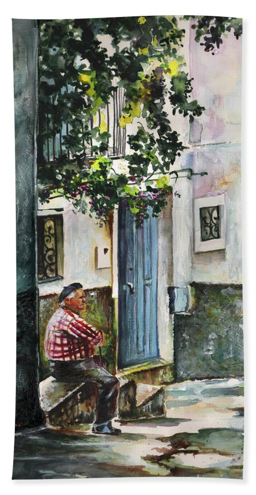 Spain Bath Sheet featuring the painting Old And Lonely In Spain 08 by Miki De Goodaboom