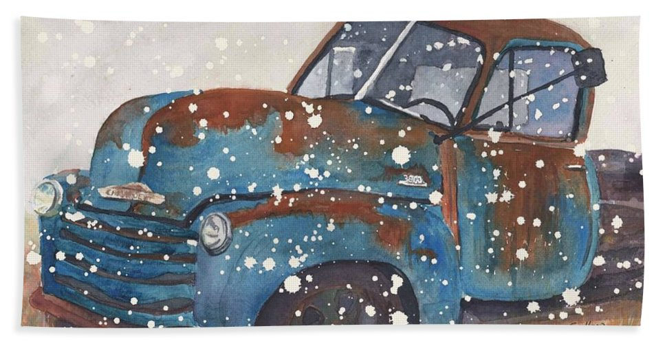 Snow Truck Bath Sheet featuring the painting Old Blue Chevy Winter Storm by CheyAnne Sexton