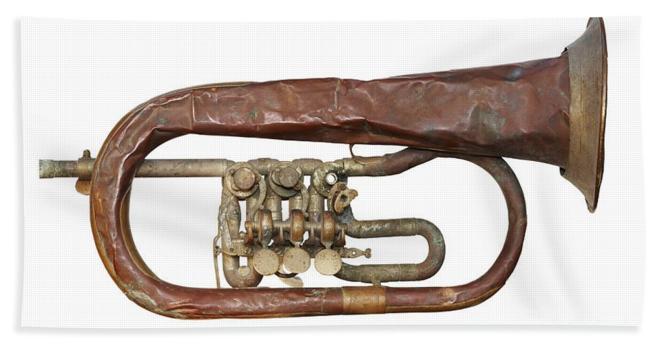 Trumpet Bath Sheet featuring the photograph Old Broken Trumpet - Isolated by Michal Boubin