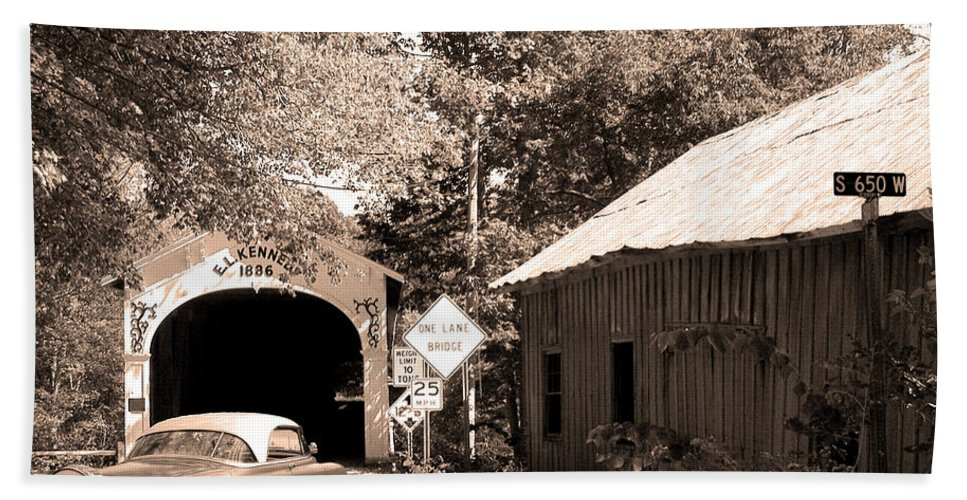 Old Chevy Bath Sheet featuring the photograph Old Car Older Barn Oldest Bridge by Randall Branham