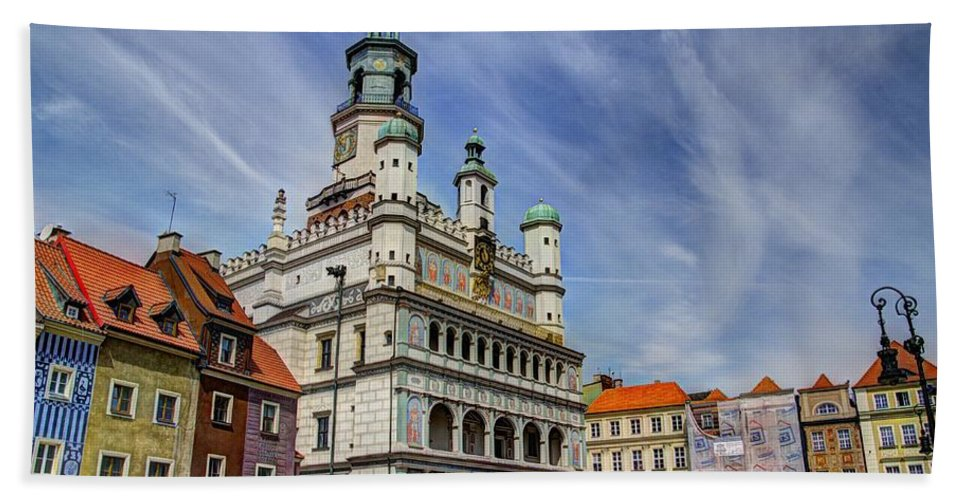 Posnan Bath Sheet featuring the photograph Old City Hall Clock Tower - Posnan Poland by Jon Berghoff