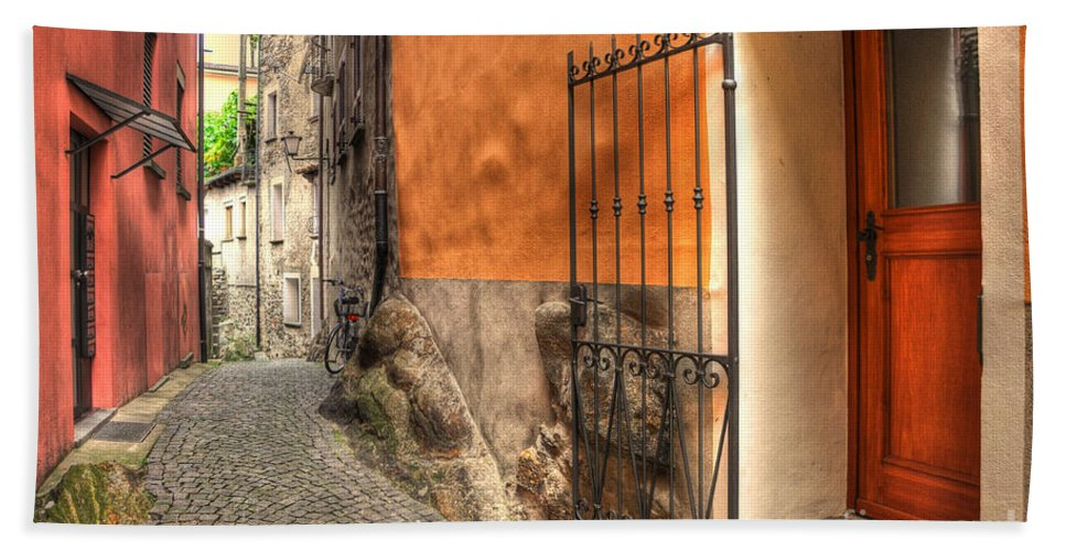 Alley Bath Sheet featuring the photograph Old Colorful Rustic Alley by Mats Silvan