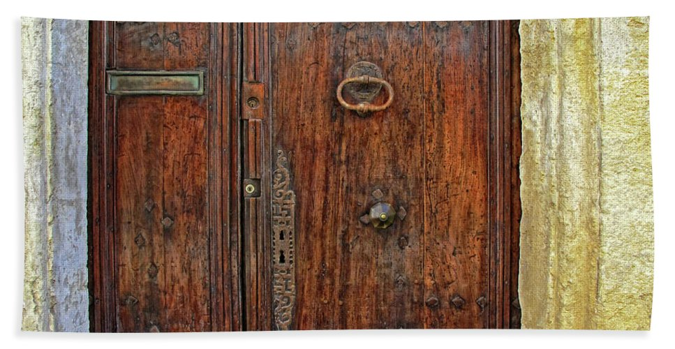 Old Door Bath Sheet featuring the photograph Old Door Study Provence France by Dave Mills
