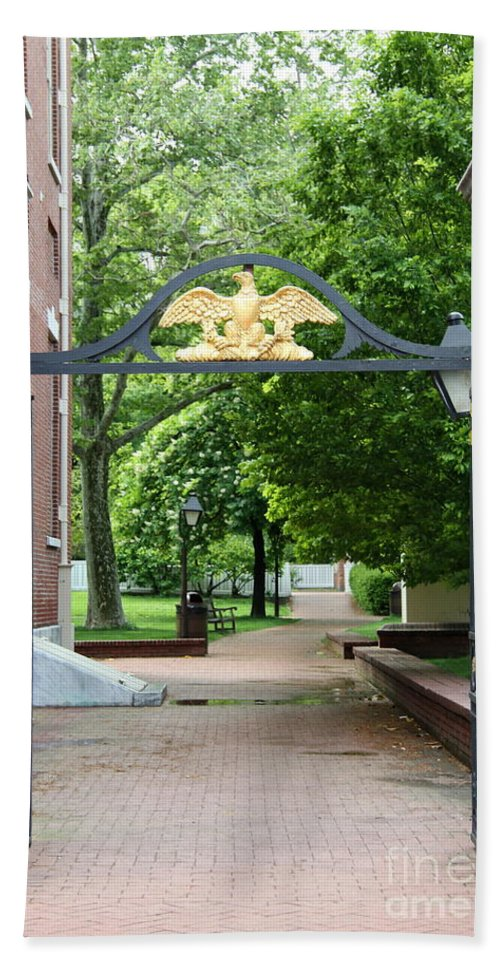 Old Gate Bath Sheet featuring the photograph Old Entrance Gate - Philadelphia by Christiane Schulze Art And Photography