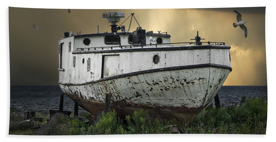 Art Bath Sheet featuring the photograph Old Fishing Boat On Shore With Storm Moving In by Randall Nyhof