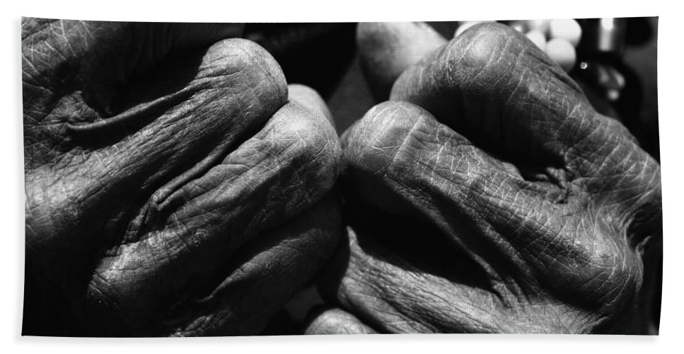 80-90 Yrs Bath Sheet featuring the photograph Old Hands 2 by Skip Nall