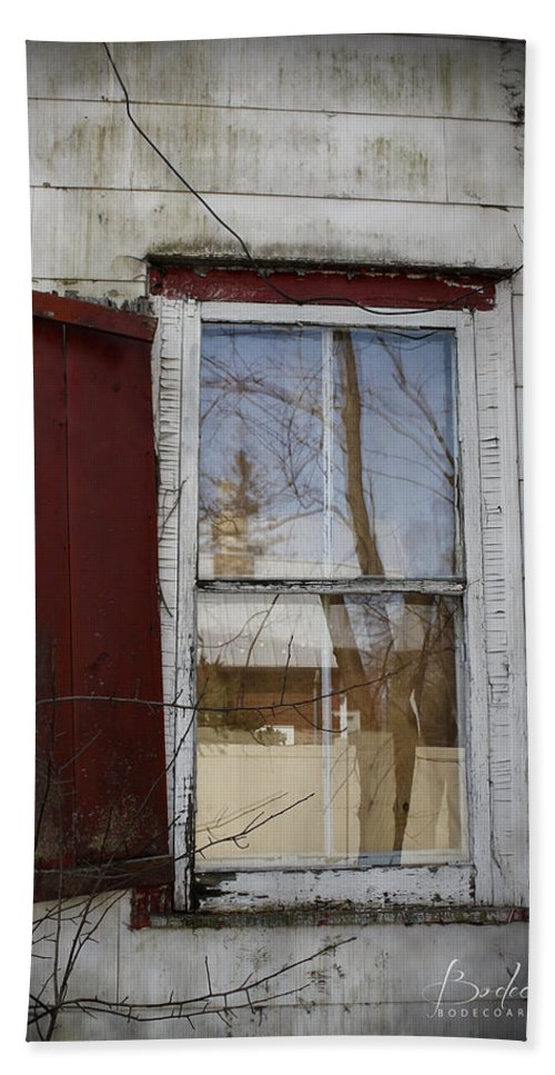 Dilapidated Hand Towel featuring the photograph Old House Red Shutter 1 by Robin Lewis