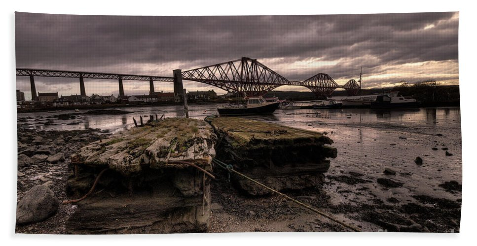 Forth Rail Bath Sheet featuring the photograph Old Jetty By The Bridge by Rob Hawkins