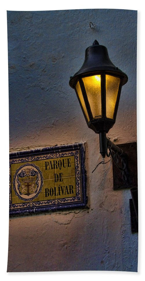 Cartagena Bath Sheet featuring the photograph Old Lamp On A Colonial Building In Old Cartagena Colombia by David Smith