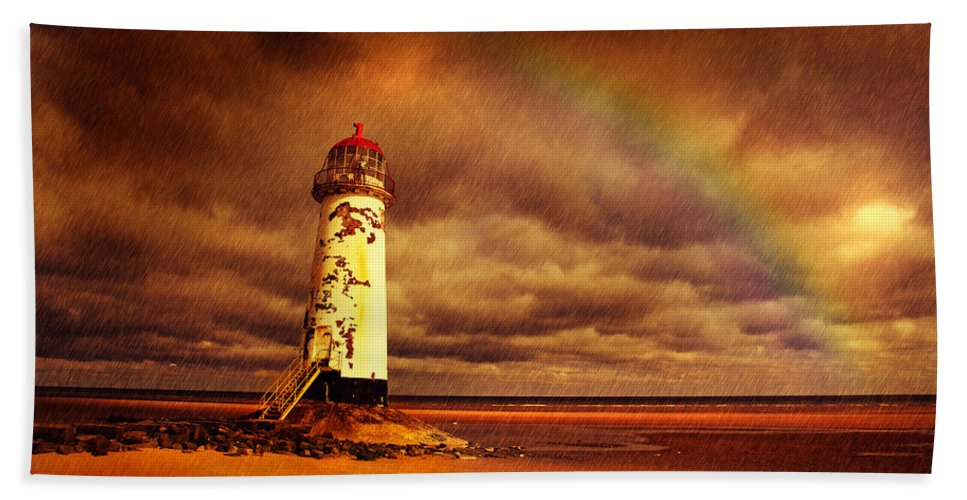 Talacre Hand Towel featuring the photograph Old Lighthouse by Mal Bray
