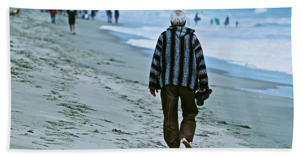 Beach Hand Towel featuring the photograph Old Man And The Beach by Eric Tressler