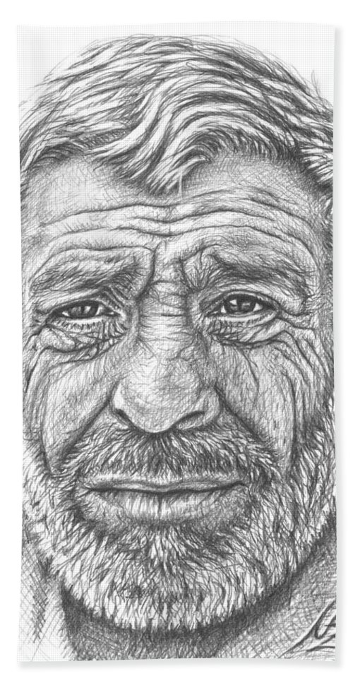 Face Hand Towel featuring the drawing Old Man from Greece by Nicole Zeug