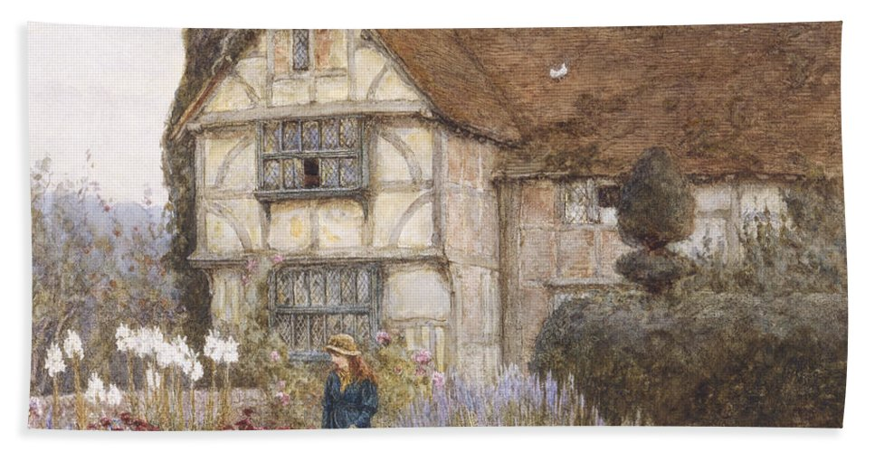 English; Landscape; C19th; C20th; Victorian; Exterior; Garden; Gardens; Border; Female; Flowers; Summer Bath Sheet featuring the painting Old Manor House by Helen Allingham