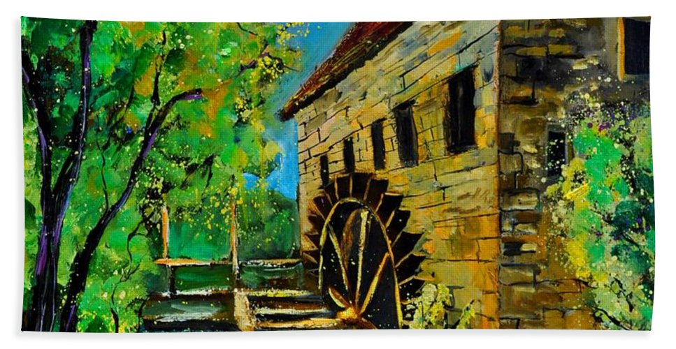 Landscape Hand Towel featuring the painting Old Mill by Pol Ledent