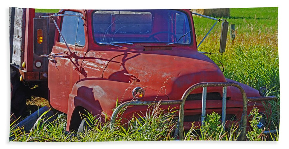 Trucks Bath Sheet featuring the photograph Old Red Truck by Randy Harris