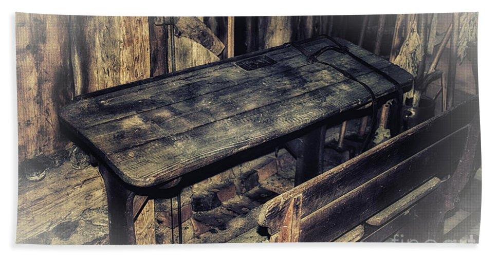 Photo Bath Sheet featuring the photograph Old School Desk by Jutta Maria Pusl