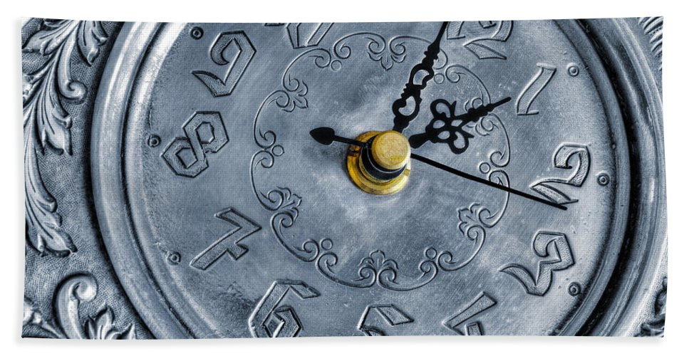 Alarm Bath Sheet featuring the photograph Old Silver Clock by Carlos Caetano