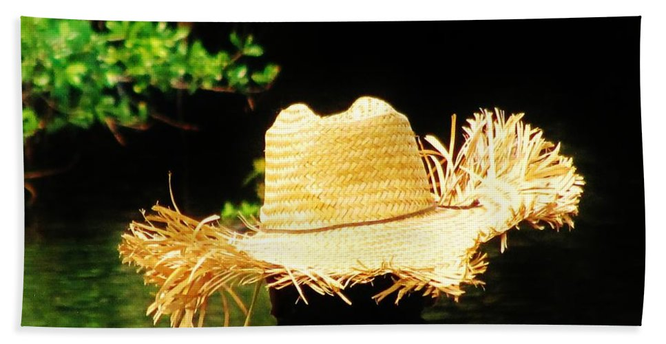 Fishing Bath Sheet featuring the photograph Old Straw Hat by Keri West
