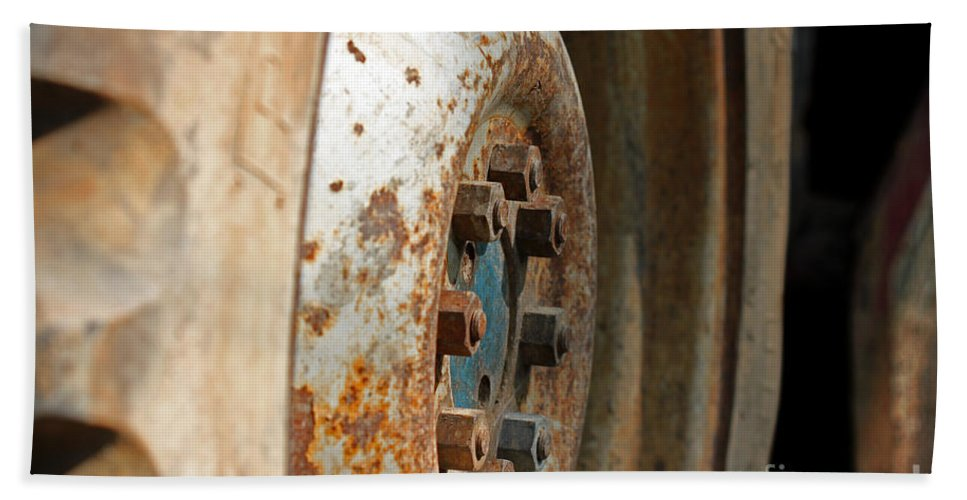 Abstract Hand Towel featuring the photograph Old Tractor Wheel by Todd Blanchard