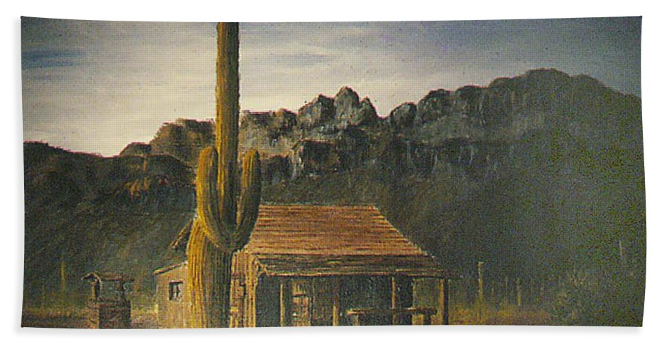 Cactus House Well Old Tucson Home Mountains Movie Set Mountains Bath Sheet featuring the painting Old Tucson Home by Frank Hunter