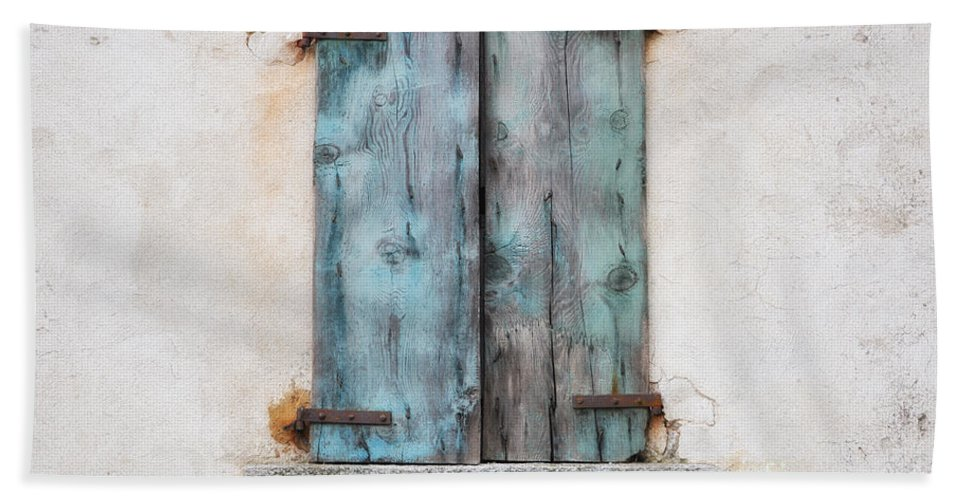 Window Bath Sheet featuring the photograph Old Window With Blue Shutte by Mats Silvan