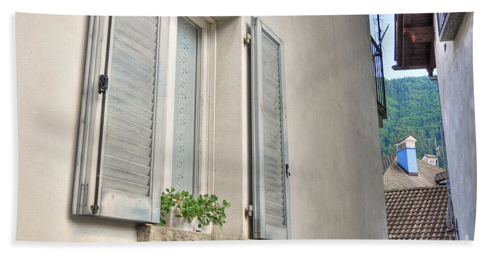 Window Hand Towel featuring the photograph Old Window With Shutter by Mats Silvan