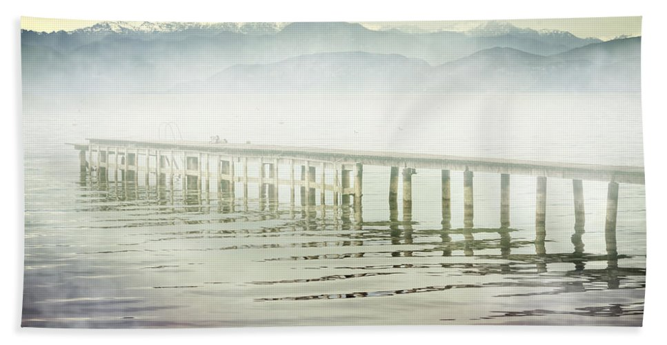 Boardwalk Hand Towel featuring the photograph Old Wooden Bridge Into A Mountain Lake On A Foggy Morning by Joana Kruse