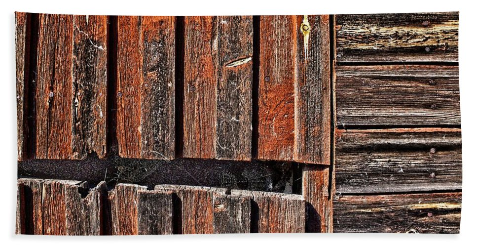 Abstract Bath Sheet featuring the photograph Old Wooden Wall by Jouko Lehto