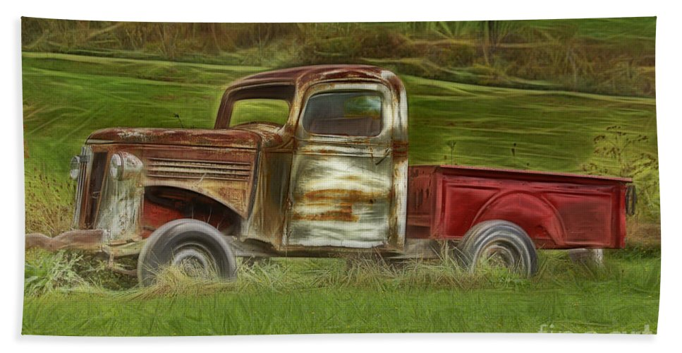 Old Truck Hand Towel featuring the photograph Oldie But Goodie by Deborah Benoit