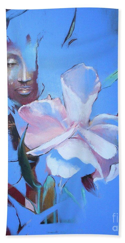 Lin Petershagen Bath Sheet featuring the painting Oleandera by Lin Petershagen