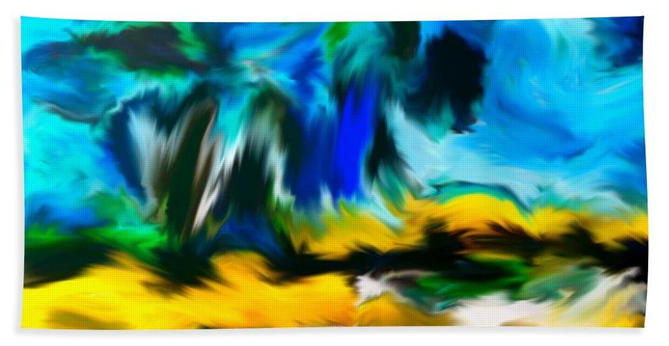 Fortuna's Digital Art Bath Sheet featuring the digital art Olive Trees In The Manner Of Van Gogh by Dragica Micki Fortuna