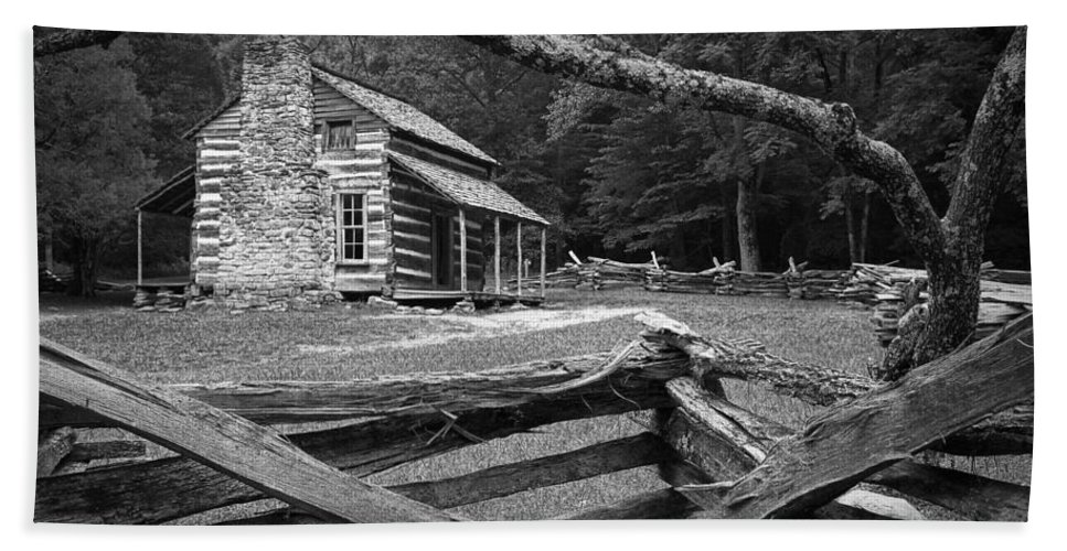 Art Bath Sheet featuring the photograph Oliver's Cabin In The Great Smokey Mountains by Randall Nyhof