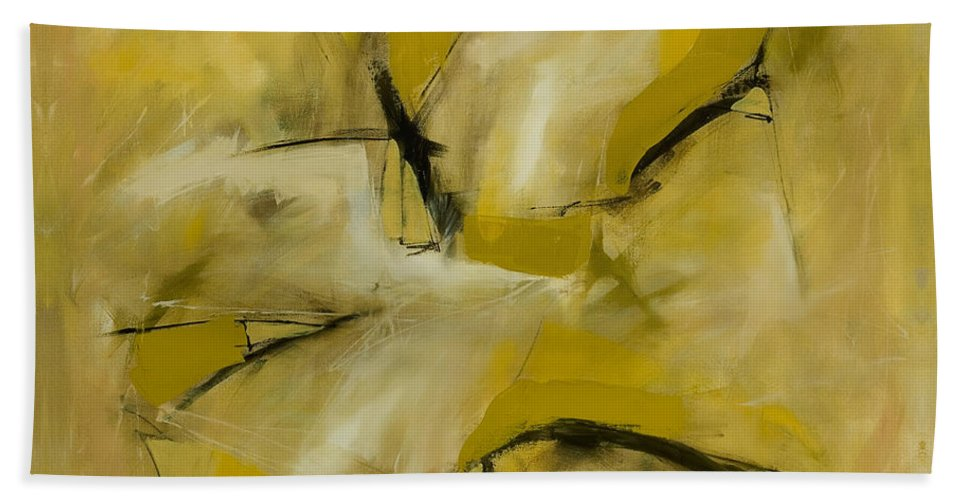 Abstract Bath Sheet featuring the painting Om Path by Lynne Taetzsch