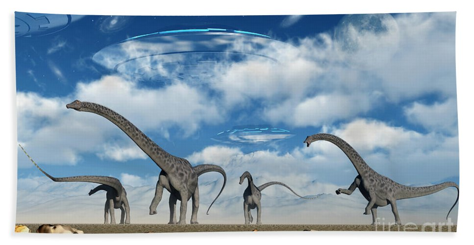 Digitally Generated Image Hand Towel featuring the digital art Omeisaurus Dinosaurs Are Startled by Mark Stevenson