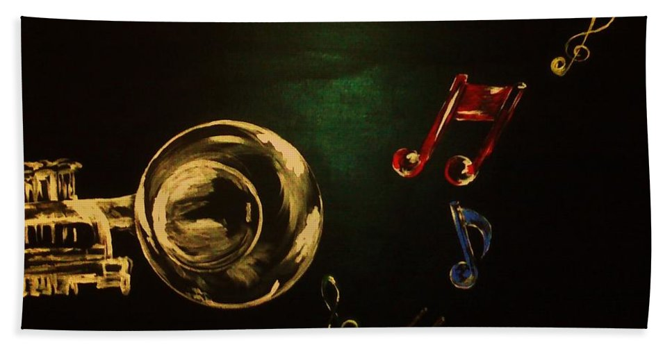 Music Bath Sheet featuring the painting On Another Note by Charles TheArtBaran