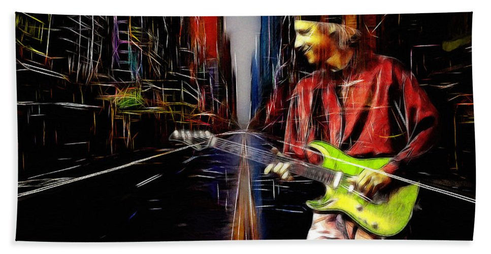 Dire Straits Mark Knopfler Phil Palmer Rock Band Every Street 1991 Expressionism Bath Sheet featuring the painting On Every Street by Steve K
