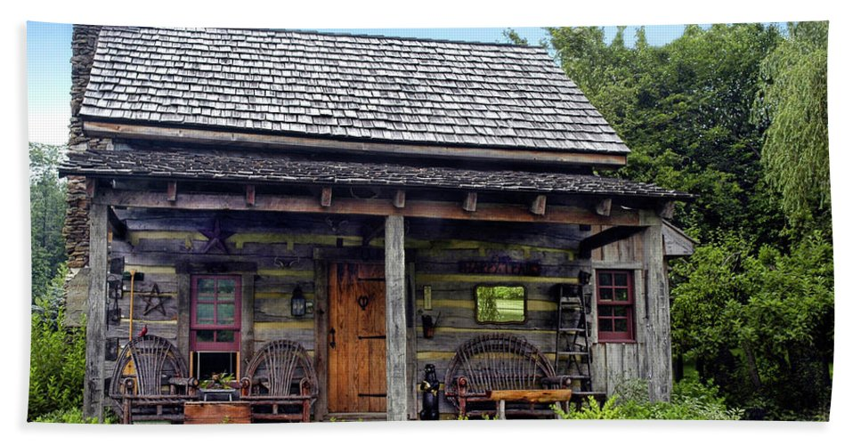 Log Cabin Bath Sheet featuring the photograph On The Back Porch by Dave Mills