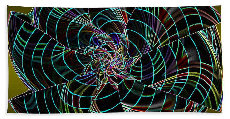 Incendia Bath Sheet featuring the digital art On The Dark Side by Deborah Benoit