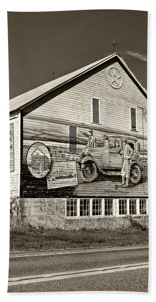 Lincoln Highway Hand Towel featuring the photograph On The Lincoln Highway Sepia by Steve Harrington